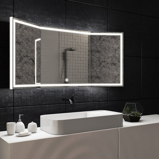 LED Backlit Mirror with Thin Plexiglass Edge, 55.1 X 25.6 Inch, Touch Sensor Switch, Defogger, CCT Remembrance, Titan Style