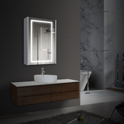 24 X 36 Inch LED Lighted Bathroom Mirror Cabinet, On/Off Switch, Double Sided Mirror, Benign Style