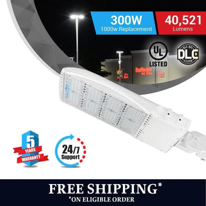 Fee shipping on LED Pole Light/ Shoebox Street Light 300W White Adjustable Mount/ Slip-fitter by LEDMyPlace Canada