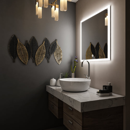 "LED Lighted Bathroom Mirror 36"" x 36"" Inch, On/Off Touch Switch, CCT Changeable With Remembrance, Defogger, Window Style"