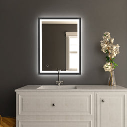 Bathroom Vanity LED Lighted Mirrors with Frame, CCT Remembrance, Defogger, Magnum Style