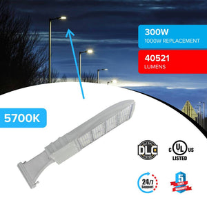 Excellent street lighting with LED Pole Light/ Shoebox Street Light 300W Silver Direct Mount by LEDMyPlace Canada
