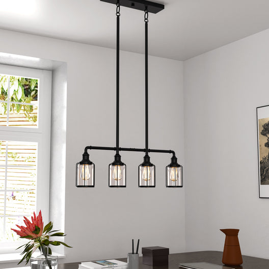 Linear Pendant Lighting Modern, 4-Lights with Clear Glass Shades, E26 Base, for Damp Location, UL Listed, Matte Black Finish