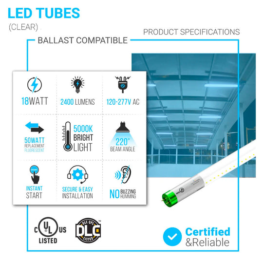 Hybrid T8 4ft LED Tube Glass 18W 2400 Lumens 5000K Clear; (Works With & Without Ballast)