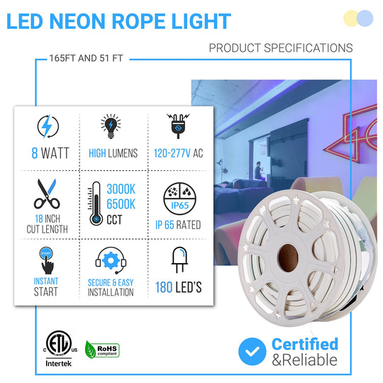 51 Feet/165 Feet LED Neon Rope Light, 120V, UL Listed (white)