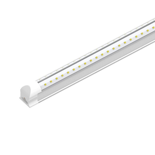 60W Integrated V Shape LED Tube, 8ft, 7200 Lumens 5000K Clear, Linkable T8 Integrated Fixture - Under Cabinet - Ceiling Lighting