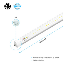Load image into Gallery viewer, T8 8ft 40W Tube Light 4800 Lumens Single Pin 6500K Clear