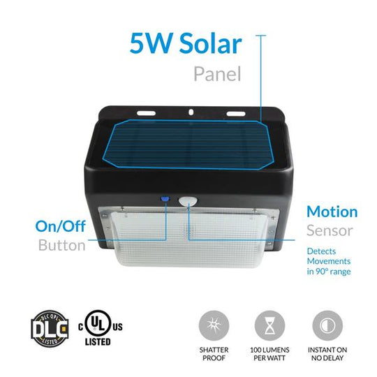 5W Solar LED Wall Pack ; 5700K ; Black