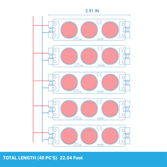 Red LED Modules for Illuminating Signs or Channel Letters, 40-Pack, SMD 2835, IP65 Rated, 3LED/Mod, DC12V, 0.72W