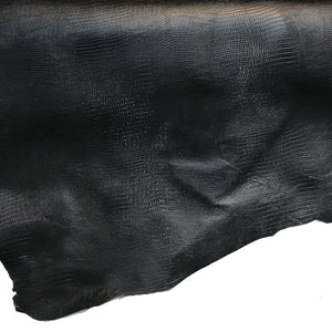 Lizard Print Black Lining Leather Hide - 2 oz Cowhide Split - 8-13 Square Feet