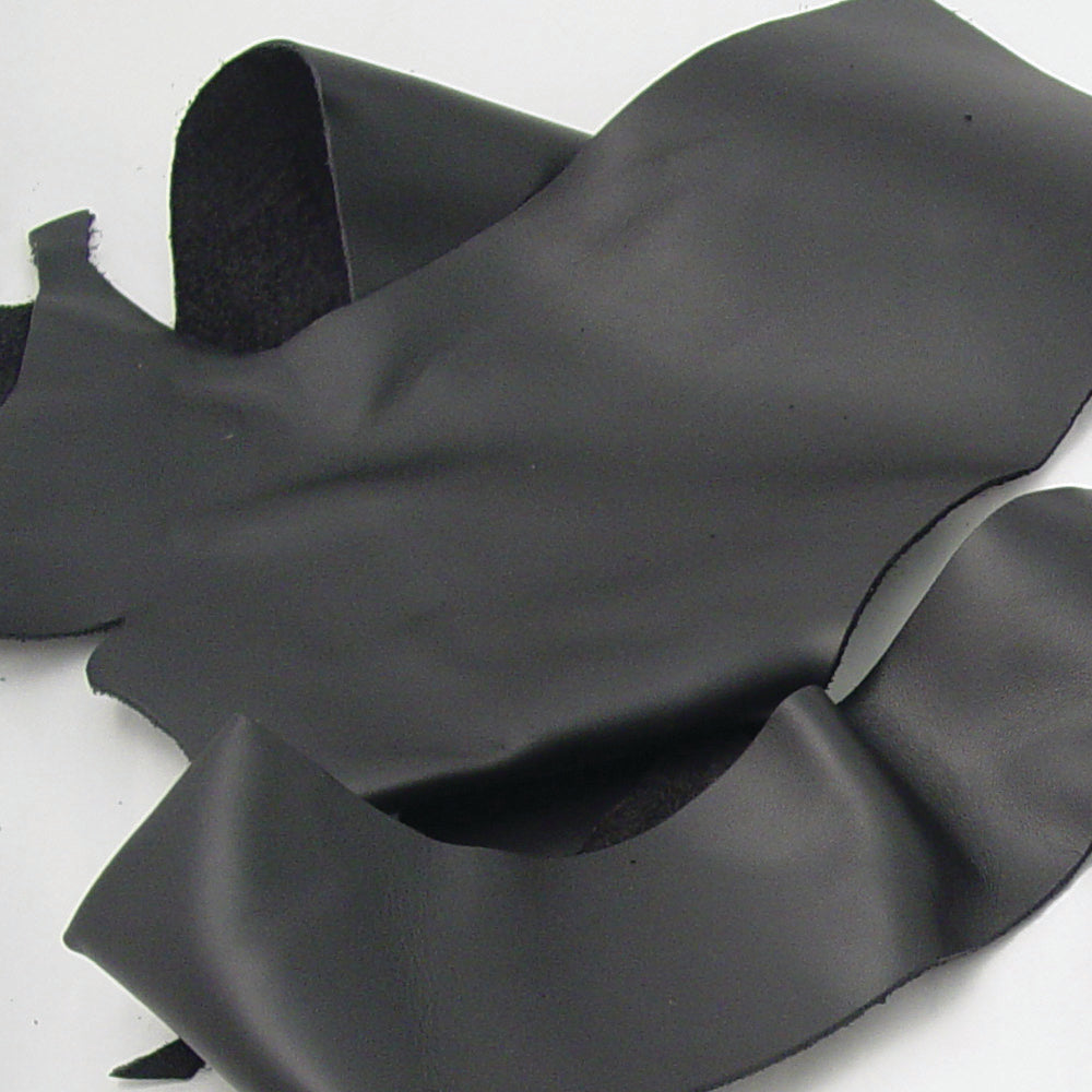 Large Black Leather Pieces - 4-5 oz Black Leather Scraps - Bulk