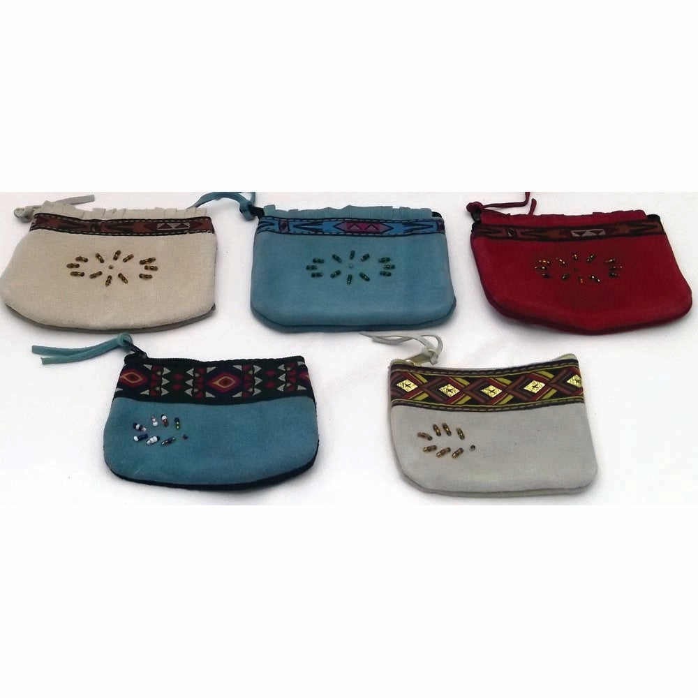 Assorted Handcrafted Beaded Leather Coin Purses