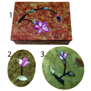 Handcrafted Stone Inlay Jewelry Boxes