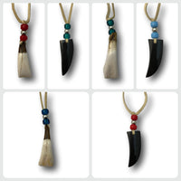 4 Pack of Authentic Hand Carved Bone & Horn Necklace Pendants with Deerskin Lace - Native American Jewelry