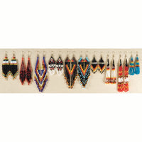 Hand Made Indian Style Beaded Earrings - Colorful Native American Jewelry