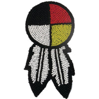 Rosette With Feather Beaded Native American Style Accent