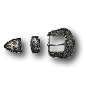 "Three Piece Sterling Silver Plated Belt Buckle Set - Fits up to 1.5"" Belts"
