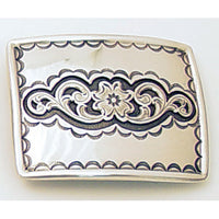 Rectangular Floral Trophy Belt Buckle