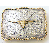 Texas Longhorn Two-toned Gold & Silver Trophy Belt Buckle