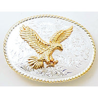 Two-toned Gold & Silver Eagle Trophy Belt Buckle