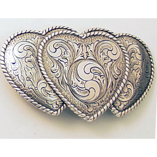 Triple Heart Trophy Belt Buckle