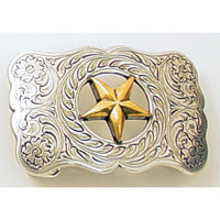 Gold Star Two-toned Trophy Belt Buckle