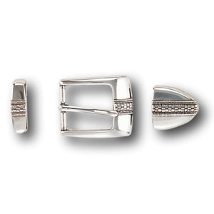 "Three Piece Sterling Silver Plated Belt Buckle Set - Fits up to 1 1/8"" Belts"