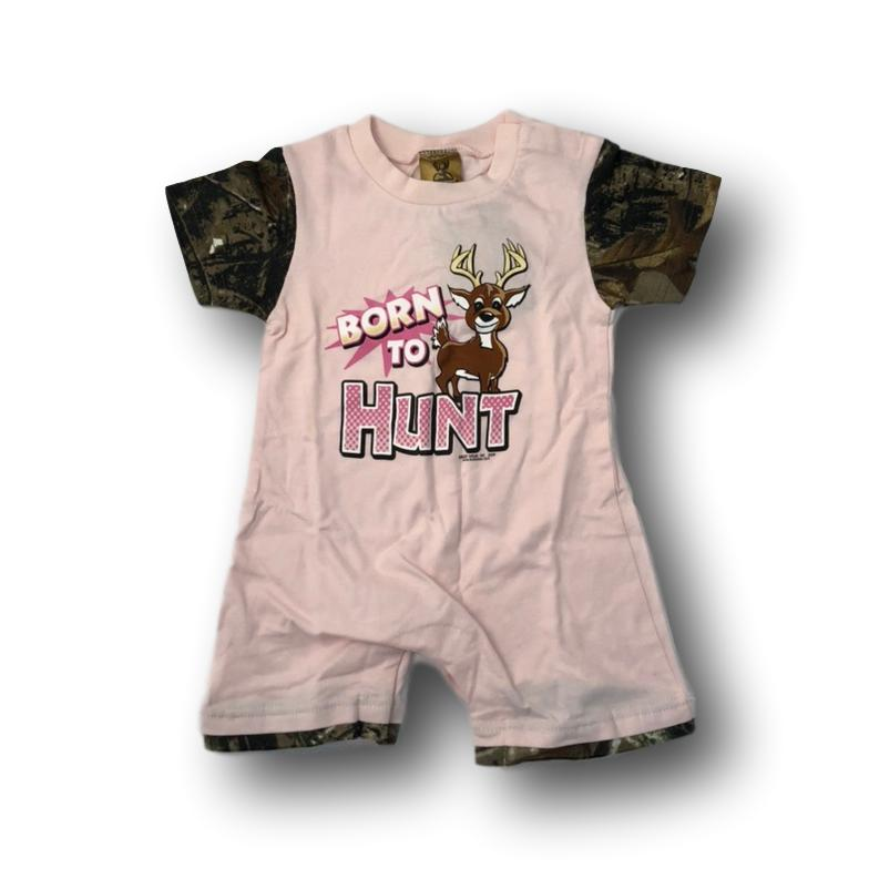 """Born to Hunt"" Little Hunter Camo & Pink One Piece Short Sleeve Romper- 18 Months"