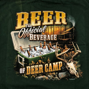 """The Official Beverage Of Deer Camp"" Hunter Humor TShirt - Adult XL"