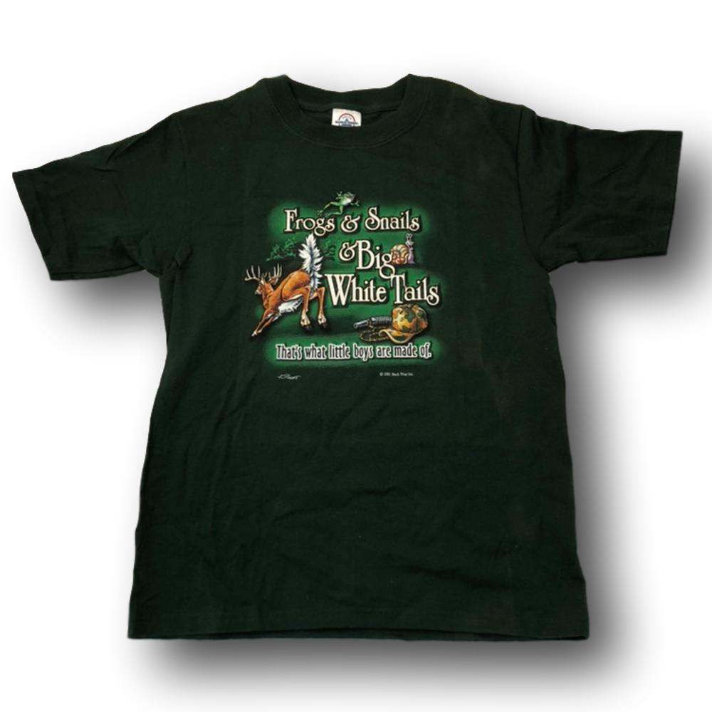 """Frogs & Snails & Big Whitetails - That's What Little Boys Are Made Of"" Little Hunter Green T-shirt - Youth L - Youth S - Youth XS"
