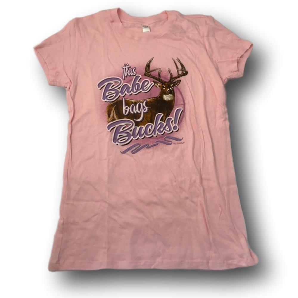 """This Babe Bangs Bucks"" Pink Little Hunter T-shirt for Girls -Youth XL"