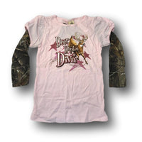 """Deer Huntin' Diva"" Little Hunter Girls Pink & Camo Long Sleeve T-shirt - Youth L - Youth S -Youth XS"