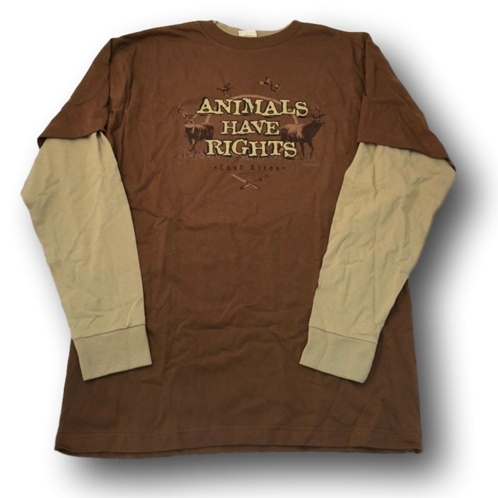 """Animals Have Rights: Last Rites"" Hunter Humor Long Sleeve Tshirt - Adult L"