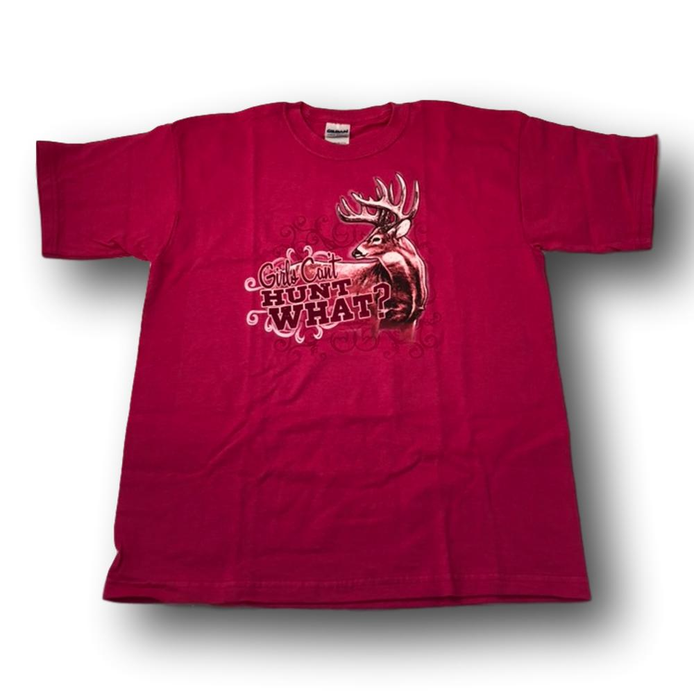 """Girls Can't Hunt What?"" Little Hunter Pink T-shirt For Girls - Youth L - Youth M"
