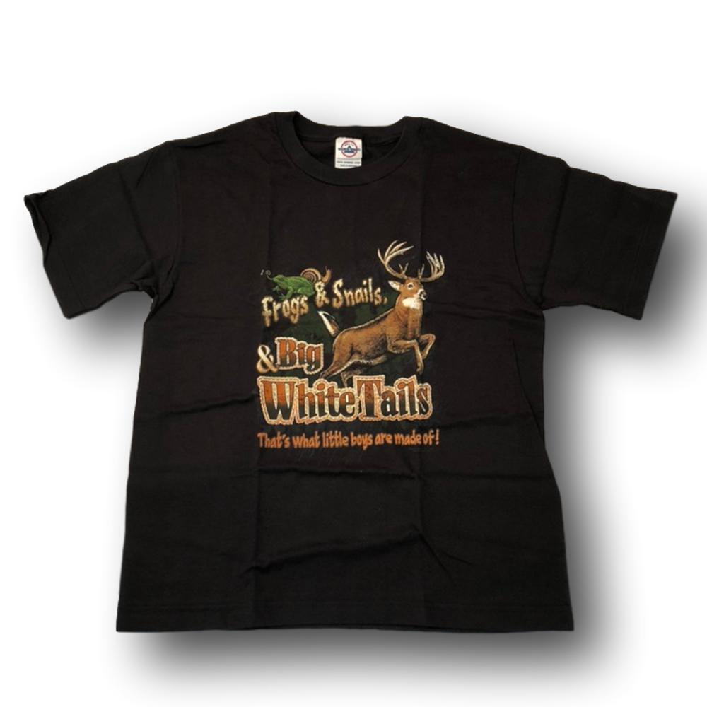 """Frogs & Snails & Big Whitetails - That's What Little Boys Are Made Of"" Little Hunter Black T-shirt - Youth L"