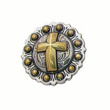 Christian Cross Berry Gold Screw Back Concho - 2""