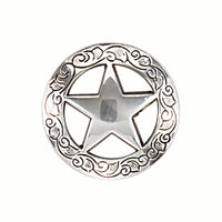 Star Screw Back Concho with Leaf Border - 1 1/2