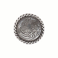 Flower Screw Back Concho with Braided Edge - 1 1/4