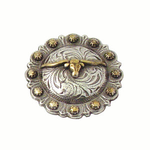 Texas Longhorn Screw Back Concho with Berry Edge - 1 1/2""
