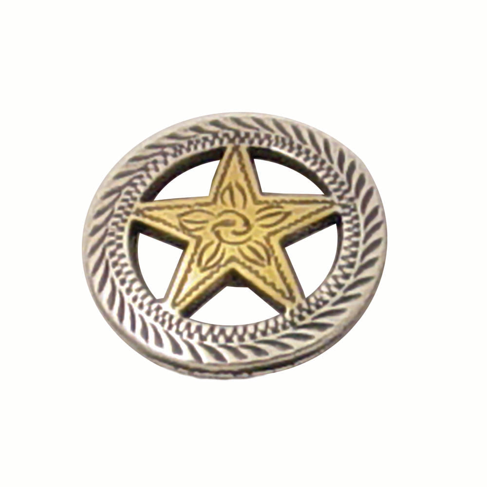 Gold Star with Silver Roped Edge Screw Back Concho - 1""