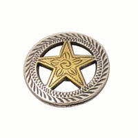 Gold Star with Silver Roped Edge Screw Back Concho - 1