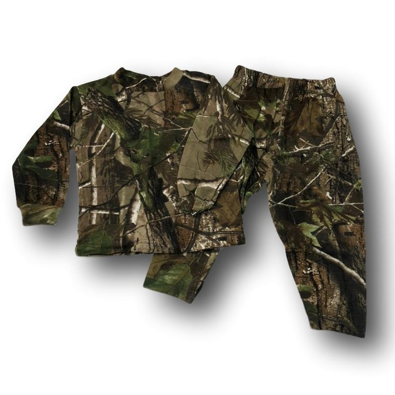 Little Hunter Camo Unisex Long Sleeve Two Piece Children's Pajamas Set - 2T