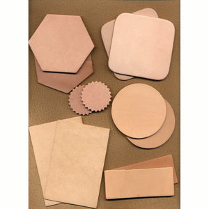 Genuine Leather Coasters - 7-9 oz Oak Leather - Can Be Personalized
