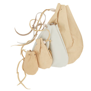 Leather Drawstring Pouch - Suede - Grain - Keepsake Holder Bag
