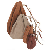 Leather Drawstring Pouch - Suede or Grain  Keepsake Holder Bag