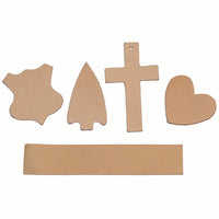 Oak Leather Tooling Shapes for Crafts - Arrowhead - Badge - Cross - Heart - Rectangle
