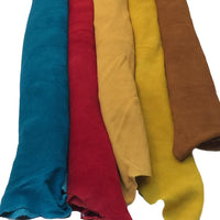 Natural Deerskin Splits Suede Leather Hides in Turquoise, Red, Smoke, Gold and Nutmeg
