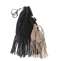 Fringe Suede Drawstring Pouch - Small Handmade Leather Drawstring Bag