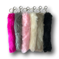 Good Luck Charm Fuzzy Long Key Chains - Assorted 6 Pack of Lucky Faux Rabbit Feet
