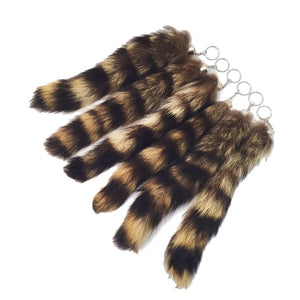 Genuine Raccoon Tails With Keychain